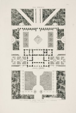 """""""General plan of the Casino nobile of the Villa Borghese and the surrounding gardens"""" (Plate 22)"""