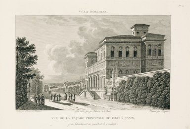 """View of the main facade of the Casino nobile of the Villa Borghese captured laterally overlooking the sleeping quarters"" (Plate 24)"