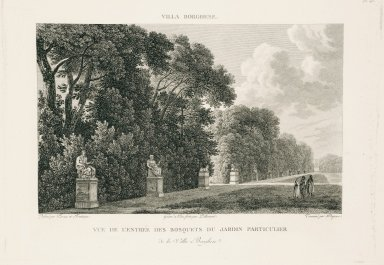 """""""View of the entrance to the bosco of the private garden of the Villa Borghese"""" (Plate 25)"""