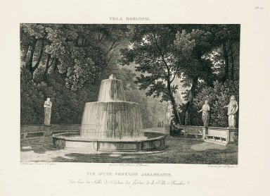 """""""View of a springing fountain in one of the green rooms of the gardens of the Villa Borghese"""" (Plate 26)"""