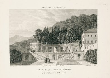"""""""View of the Fountain of the dragon at the Villa Mondragone"""" (Plate 54)"""