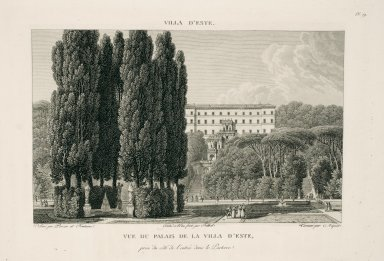 """""""View of the palace of the Villa d'Este captured from the entrance side in the parterre"""" (Plate 59)"""