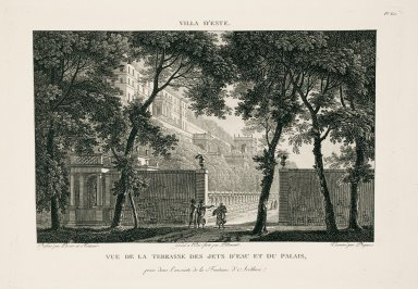 """""""View of the terrace of the water jets and the palace captured in the surroundings of the Fountain of Arethuse [Oval Fountain]"""" (Plate 60)"""
