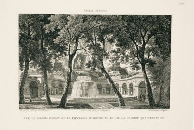 """""""View of the great basin of the Fountain of Arethuse [Oval Fountain] and the gallery that surrounds it"""" (Plate 61)"""
