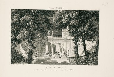 """View of the fountain [of the dragon] at the center of the round staircase on the first landing of the great steps"" (Plate 62)"