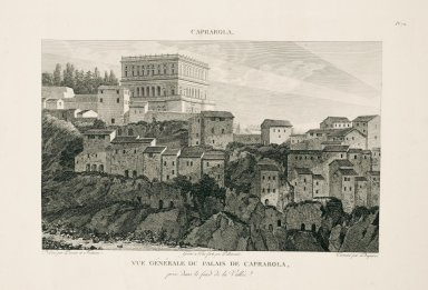 """General view of the palace at Caprarola captured from the base of the valley"" (Plate 72)"