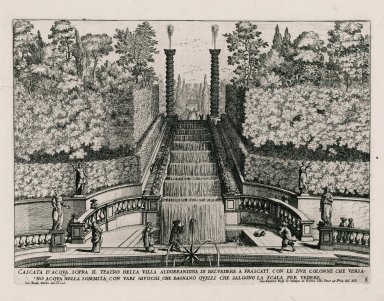 """Water cascade above the theater of the Villa Aldobrandini at Frascati, with two columns that spout water from the tops, with various water tricks... "" (Plate 8)"