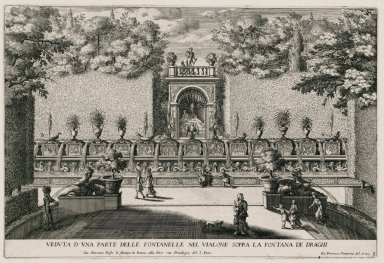 """""""View of one part of the Alley of the hundred fountains above the Fountain of the dragon"""" (Plate 9)"""