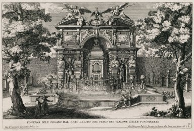 """""""Fountain of the organ on the right side of the level of the Alley of the hundred fountains"""" (Plate 13)"""