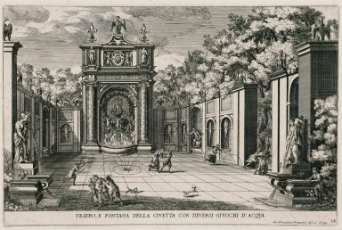 """""""Theater and the Fountain of the owl with various water tricks"""" (Plate 18)"""