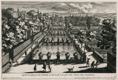 """""""View of the Fish pools and the water tricks in the Lower garden"""" (Plate 18)"""
