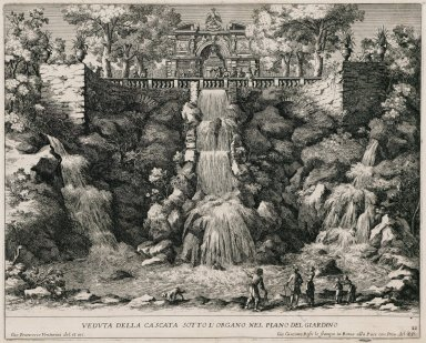 """View of the Cascade below the organ from the Lower garden"" (Plate 21)"