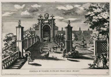 """""""Fountain of Venus located on the level of the Water organ"""" (Plate 22)"""