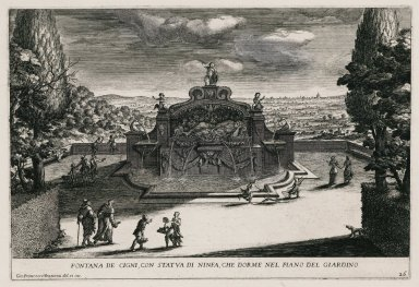 """""""Fountain of the swans with a statue of a sleeping nymph in the Lower garden"""" (Plate 26)"""