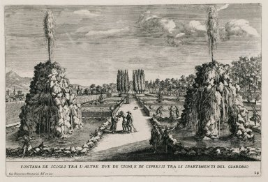 """""""Fountain of the rocks between the other two swans in the Cypress circle"""" (Plate 24)"""