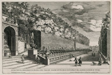 """Another principal view in profile of the Alley of the hundred fountains in the extensive gardens of Tivoli"" (Plate 10)"