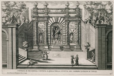 """Fountain of Prosperina adjacent to the Fountain of the owl in the extensive gardens in Tivoli"" (Plate 19)"