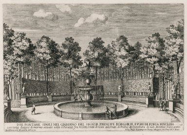 """Two similar fountains in the garden of the Borghese prince [Villa Borghese] outside of the Porta Pinciana"" (Fig. 15)"