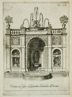 """Fountain at the entrance to the gardens of the [Villa] Belvedere at Frascati"" (Fig. 16)"