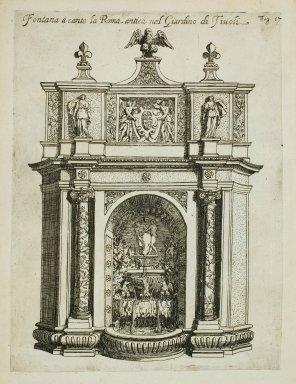 """Fountain [Fountain of the owl] near the Fountain of ancient Rome [Rometta] in the garden at Tivoli"" (Fig. 17)"