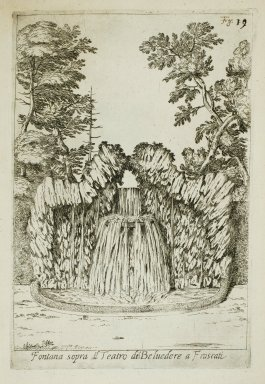 """""""Fountain above the Water theater of the [Villa Belvedere] at Frascati"""" (Fig. 19)"""