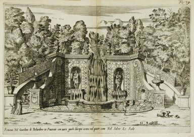 """Fountain in the garden of the [Villa] Belvedere at Frascati [Fountain of the shepherds] with various water tricks... "" (Fig. 39)"