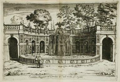 """""""Large fountain [Ovata fountain] in the garden at Tivoli near the water organ"""" (Fig. 43)"""