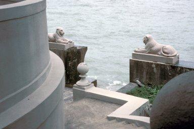 Lions on sea wall