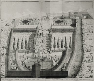 """General view of the palace and gardens at Merate of the Marquis of Ferrante Novati"""