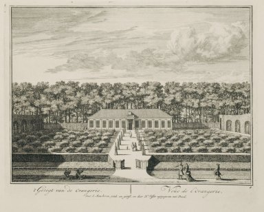 """""""View of the orangerie"""" (Plate 4)"""