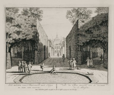"""""""View of the star-shaped bosquet facing the house"""" (Plate 7)"""