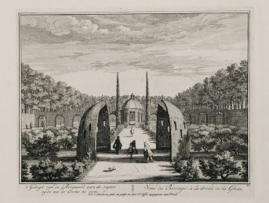 """""""View of the bocage to the right of the grotto"""" (Plate 20)"""