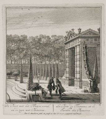 """""""The fountain gate and the garden parterres"""" (Plate 12)"""