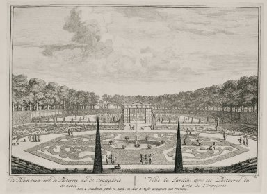 """""""View of the garden with parterres near the orangerie"""" (Plate 21)"""