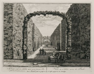 """""""View of the allée with its green boughs and ornaments"""" (Plate 18)"""