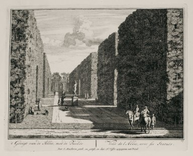 """""""View of the allée with its statues"""" (Plate 17)"""