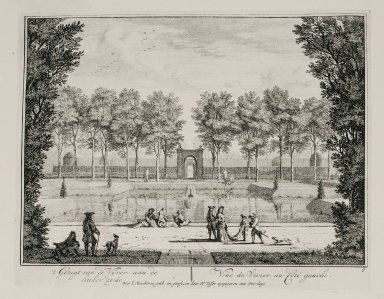 """""""View of the fish pond from the left side"""" (Plate 9)"""