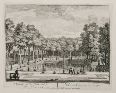 """""""View of the fish pond from the right side"""" (Plate 10)"""