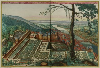 """View of the Hortus Palatinus of Frederich the Electorate at Heidelberg, erected c. 1620"""