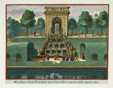 """The grotto with its cascades seen from the side"""