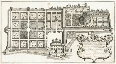 """""""Plan of the garden of his most serene highness the grand Duke of Tuscany at the trinity of the hill on the Monte Pincio, architecture by Annibale Lippi"""" (Plate 8)"""