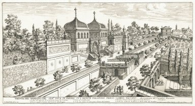 """View of the garden of his most serene highness the grand Duke of Parma on the Palatine hill toward the Campo Vaccino, architecture by Girolamo Rainaldi"" (Plate 9)"