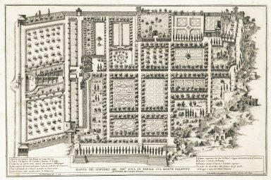 """""""Plan of the garden of his most serene highness, the Duke of Parma on the Palatine hill, architecture by Girolamo Rainaldi"""" (Plate 10)"""