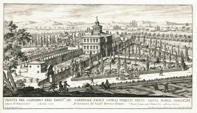 """View of the garden of his emminence Cardinal Paolo Savelli Peretti near Santa Maria Maggiore, architecture by Domenico Fontana"" (Plate 13)"