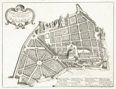 """Plan of the garden of his excellency the Duke Mattei at the crest of the Celian hill. Architecture by Giacomo del Duca... (Plate 18)"