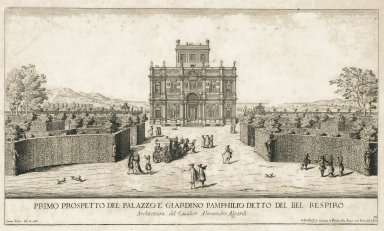 """""""First view of the palazzo and garden of Villa Doria-Pamphili. Architecture by Sir Alessandro Algardi"""" (Plate 19)"""