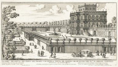 """First view of the side of the palazzo with a different view of the garden of Villa Doria-Pamphil of his excellency, the Prince Pamphili. Architecture by Sir Algardi"" (Plate 20)"