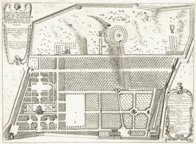 """""""Plan of the garden of Villa Doria-Pamphili of his excellency the Prince Pamphili lying on the Giancolo hill outside of the San Pancratio port """" (Plate 21)"""