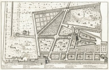 """""""Plan and elevation of the garden and vineyards of Pope Sisto V, today of his emminence Prince Cardinal Paolo Savelli Peretti. Architecture by sir Domenico Fontana"""" (Plate 14)"""