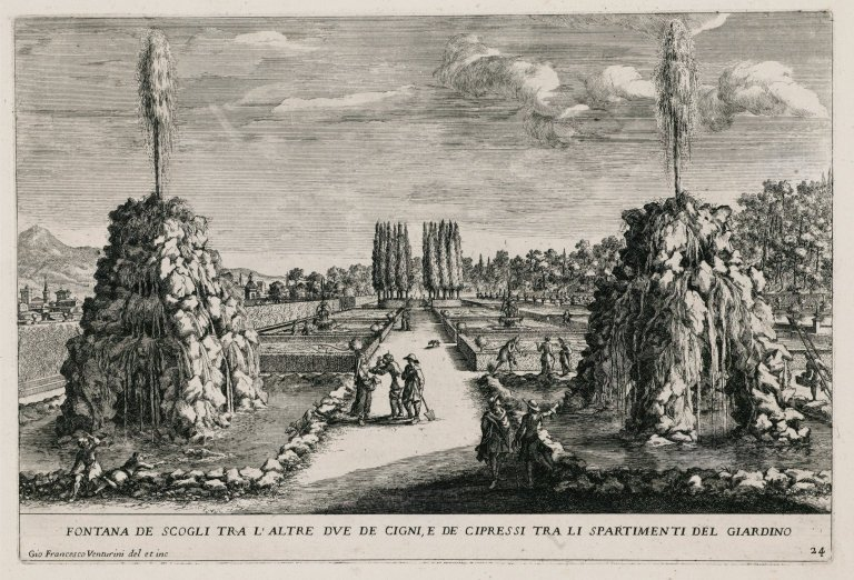 """""""Fountain of the rocks between the other two swans in the Cypress circle"""" (Plate 24), """"Fountain of the rocks between the other two swans in the Cypress circle"""" (Plate 24)"""